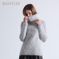 BAHTLEE 2018 Autumn winter women's angora rabbit turtleneck pullovers knitting sweater short style fashion brand keep warm