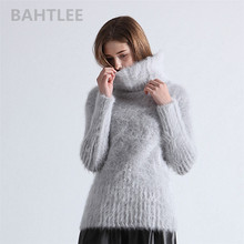 BAHTLEE Autumn Winter Womens Angora Turtleneck Sweater Pullover Mink Cashmere Knitting long sleeves Wool Jumper Knitted
