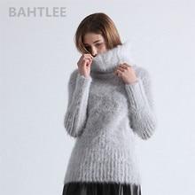 Bahtlee outono inverno feminino angora gola alta camisola pulôver mink cashmere tricô mangas compridas lã jumper malha