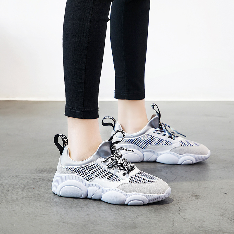 Casual sneakers women shoes 2019 new leather mesh breathable wild low cut shoes cute mesh bear fashion ladies shoes in Women 39 s Vulcanize Shoes from Shoes