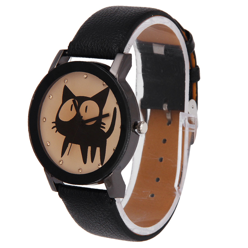 malloom Casual New Unisex Cute Cat Print Watches Womens Men Casual Faux Leather Quartz Analog Wristwatch casual cat print ringer tee