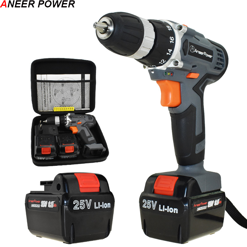 25V Rechargeable Electric Screwdriver Cordless Drill Electric Drill Electric Batteries Screwdriver Power Tools Mini Drill free shipping brand proskit upt 32007d frequency modulated electric screwdriver 2 electric screwdriver bit 900 1300rpm tools