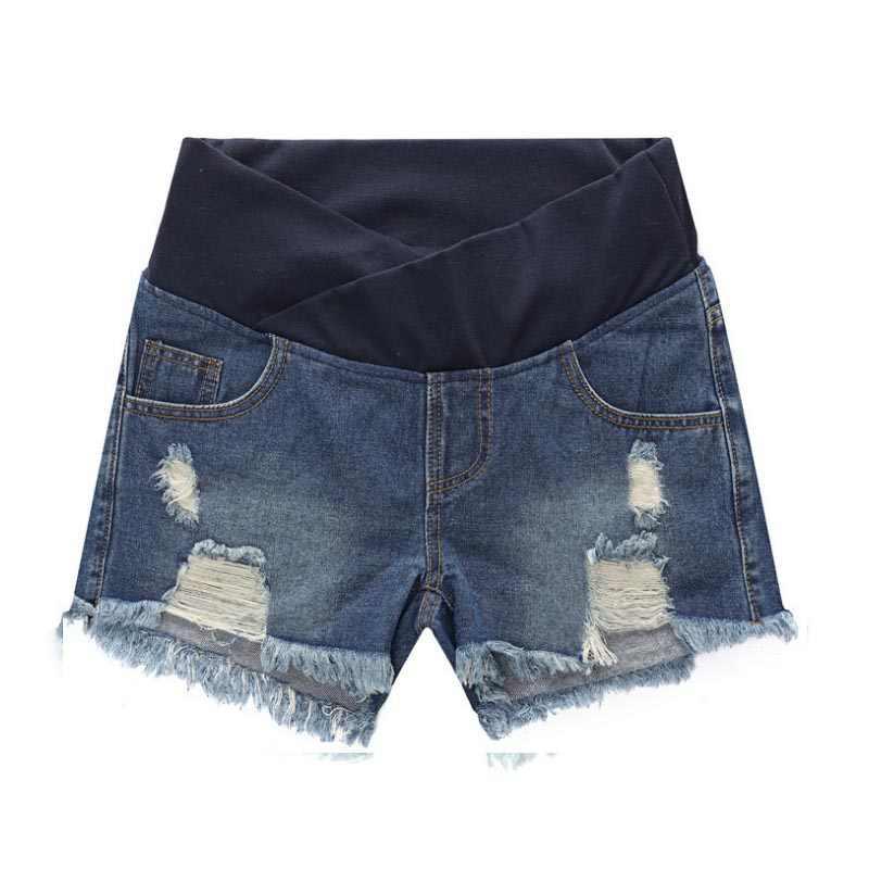 184b0edb07c89 Pregnant Women Maternity Wear Low-waisted Denim Jean Hole Shorts Prop Belly  Elastic Waist Pregnancy