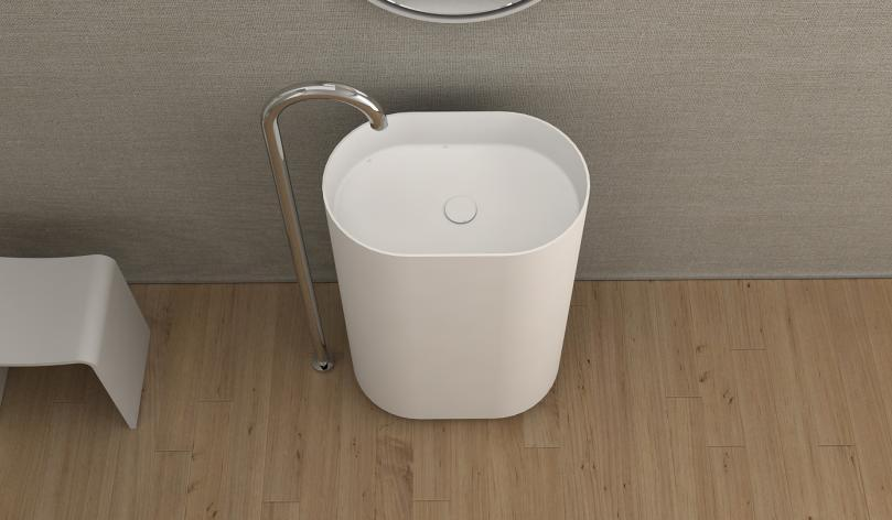 Corian Bathroom Pedestal Wash Basin Freestanding Solid Surface Matt ...