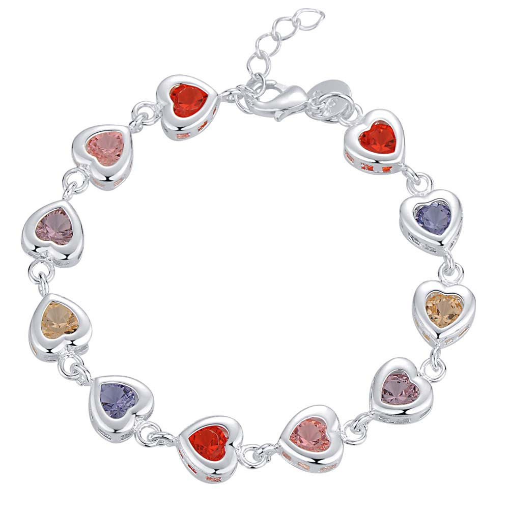 Endearing Honey Small Heart Bracelet With Multicolor 925 Sterling Silver Jewelry For Girlfriends Gifts Free Shipping