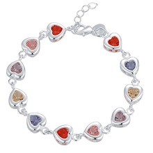 Endearing Honey Small Heart Bracelet With Multicolor 925 Sterling Silver Jewelry For Girlfriends Gifts Free Shipping 100% 925 silver sterling bracelet for woman with heart chain ice charms fashion bills free shipping