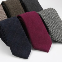 Top Quality New Fashion Luxury Mens Wool Ties Classical Men Vintage Style Necktie Designer Handmade 7cm Neck Tie whit Gift Box