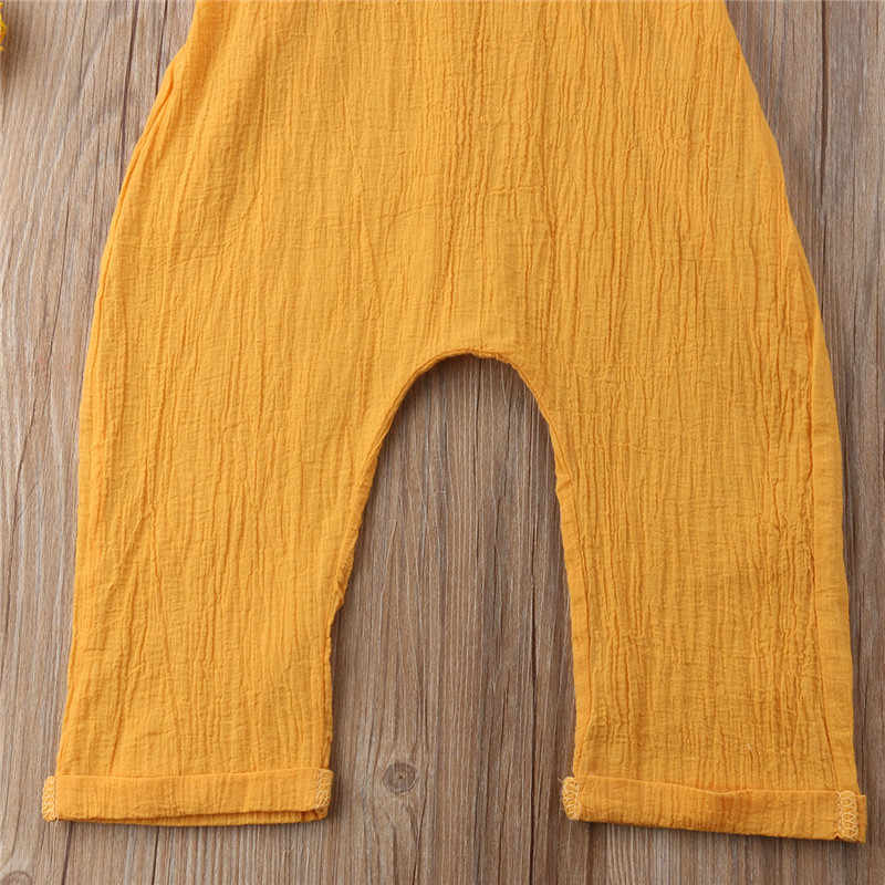 5c0eaba1f16c ... Toddler Newborn Kid Boy Girl Strap Romper Jumpsuit Playsuit Sunsuit  Outfits Summer Cotton Linen Yellow Rompers ...