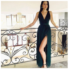 Side Split Dark Green Evening Dresses Sexy V Neck Backless 2019 Prom Party Gowns
