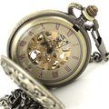wholesale Mens Modern Skeleton Pocket Watch pendant watch Archaized Carving New