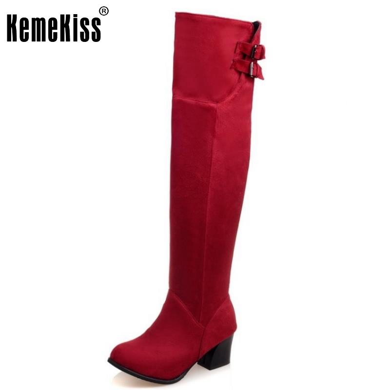 ФОТО Women Round Toe Square Heel Over Knee Boots New Fashion Woman Suede Leather Long Botas Heels Shoes Footwear Size 30-52