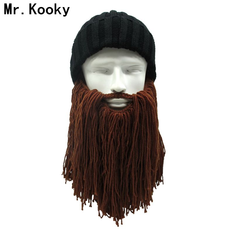 Wig Wool Knitting Beard Hat Mask Funny Hobo Mad Rasta Caveman Cap Mustache Hat Z