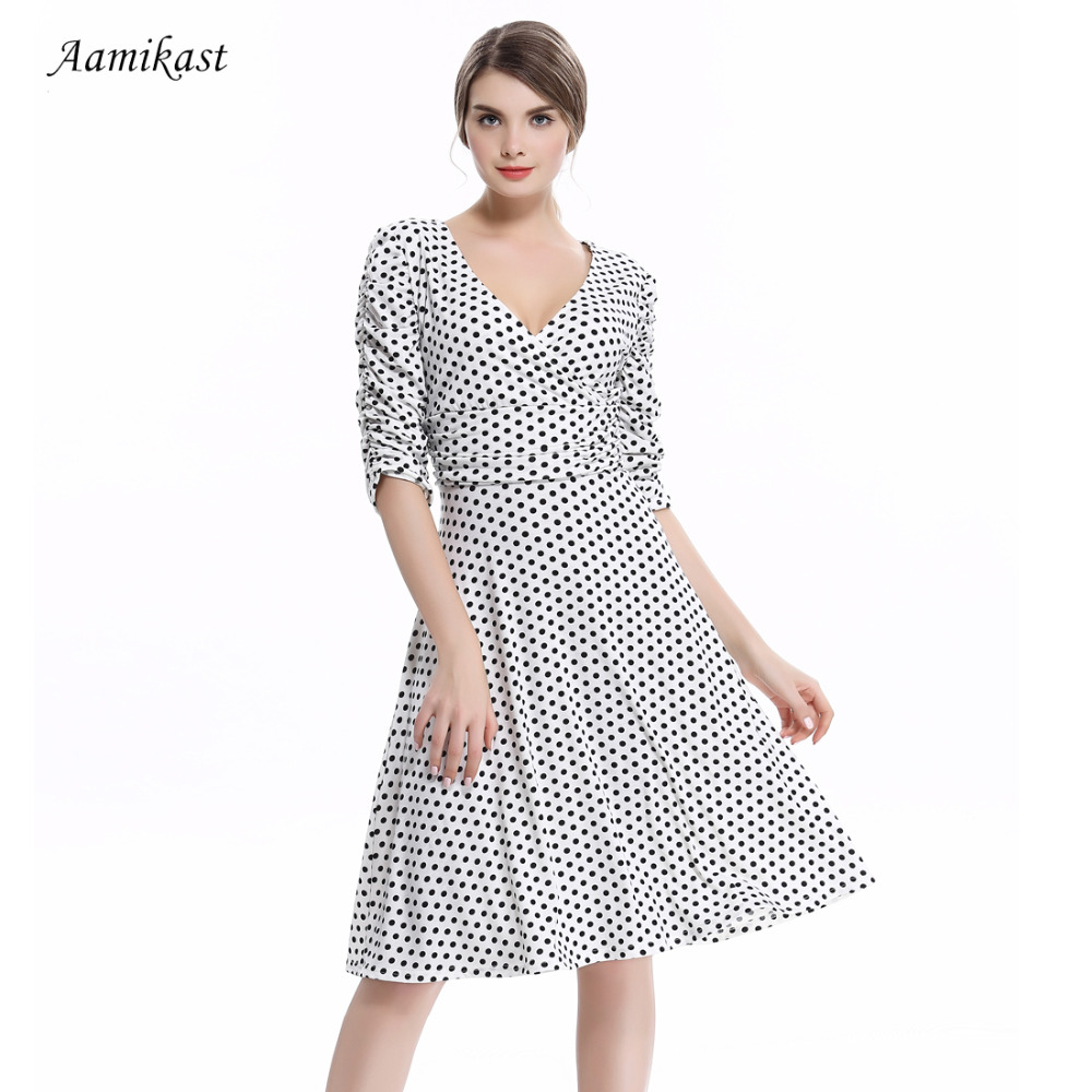 30c2dc9add6 Women Dresses Hot Sale 2019 Summer Autumn V neck 3 4 Sleeve Dot Casual  Party Evening Vintage Bodycon Sexy Women Dresses-in Dresses from Women s  Clothing on ...