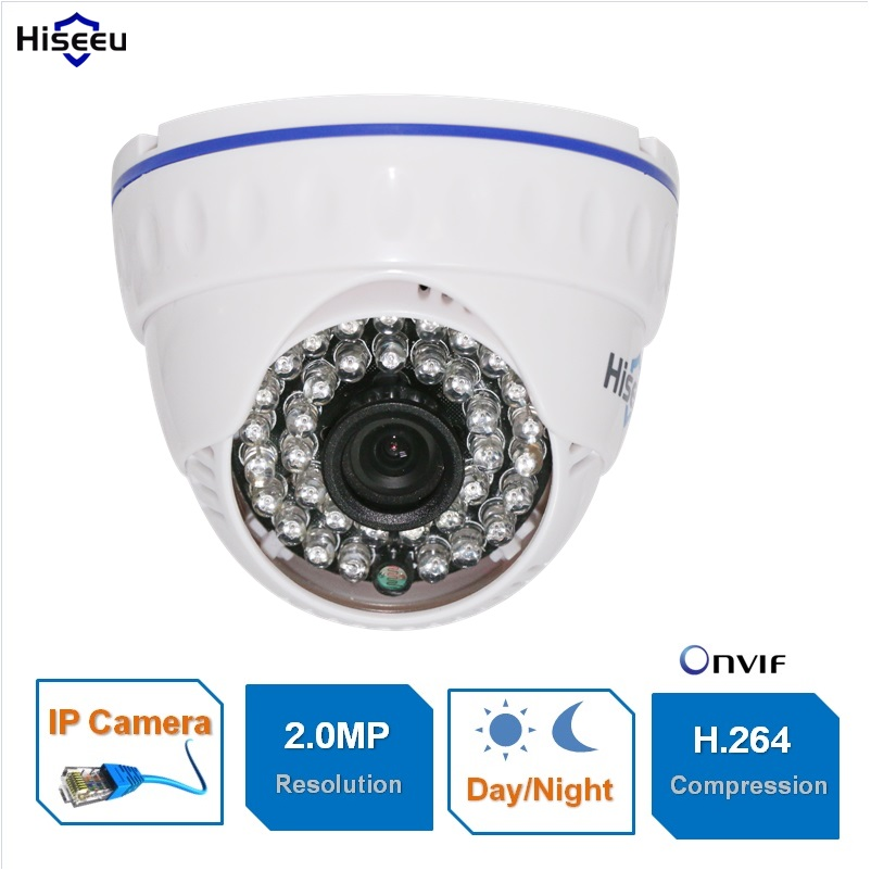 Hiseeu 1080P Family Mini Dome Security IP Camera ONVIF 2.0 indoor IR CUT Night Vision P2P Plug and Play 4pcs lot 960p indoor night version ir dome camera 4 in1 camera 3 6mm lens p2p onvif abs plastic housing