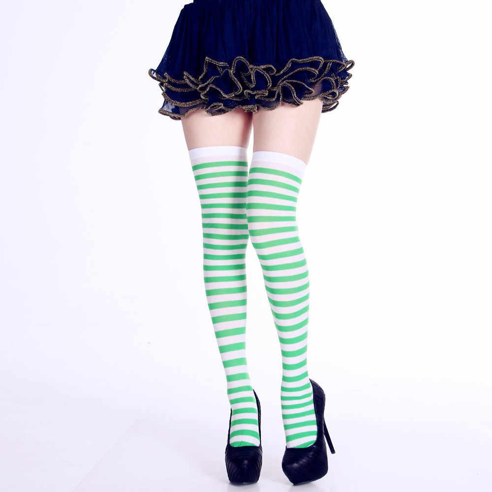แฟชั่นผู้หญิงถุงเท้าพิมพ์ลายยาวหลอดเข่าถุงเท้าแฟนซีชุดปาร์ตี้ Funny Elastic Meias เยาว์ Breathable Hocoks Sokken