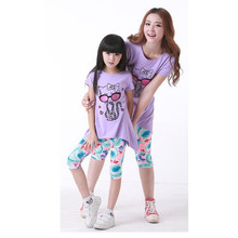 summer 2017 mother daughter matching clothes family look mommy and me cartoon cat print loose long