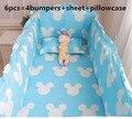 Promoção! 6 PCS Mickey jogo de cama do bebê bebe berço cama set (choques + folha + fronha)