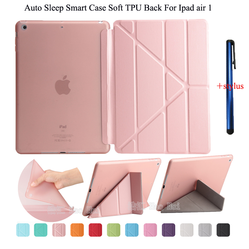 for Ipad air 1 case smart wake up sleep tpu back cover for apple ipad 5 pu leather flip stand soft full protect + stylus gift for apple ipad air 2 case pu tpu cover ultra thin smart wake up sleep 9 7 inch for ipad 6 soft full protect stand case stylus