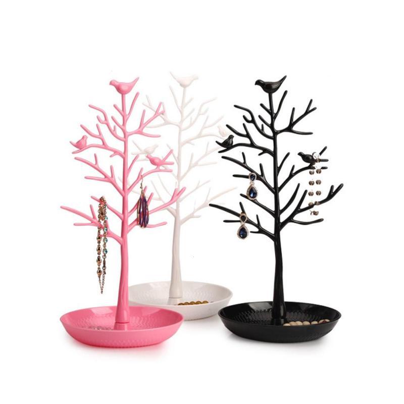 Bird Tree Branch Key Storage Rack Jewelry Necklace Earrings Rings Standing Display Organ ...