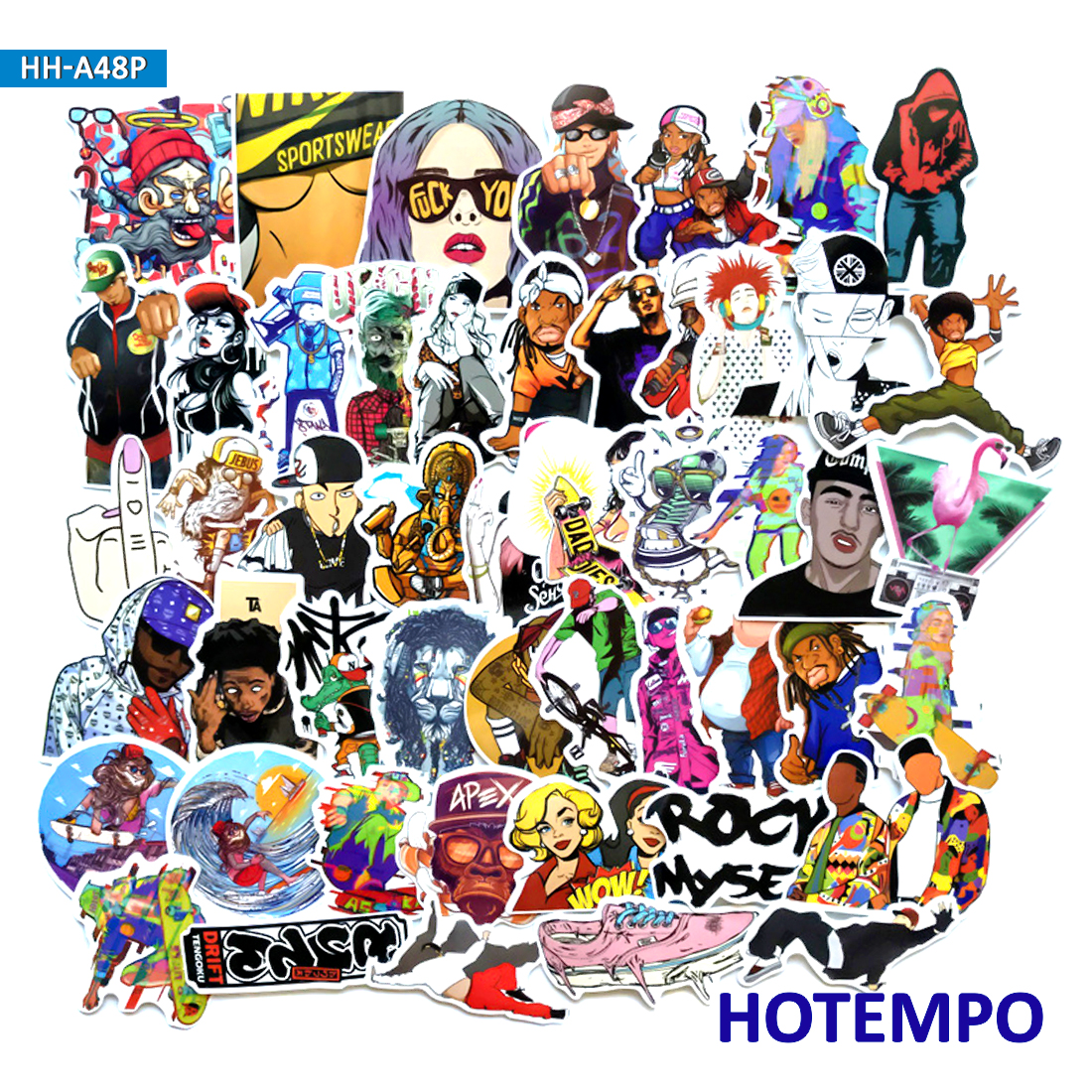 48pcs Hip Hop Rapper DJ Graffiti Style Stickers on Mobile Phone Laptop Luggage Suitcase Guitar Case Skateboard Bike BMX Stickers fonksiyonlu rende