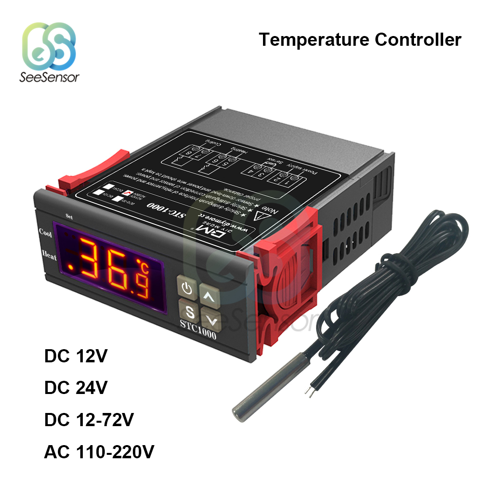 STC 1000 Digital Temperature Controller Thermostat Thermoregulator for incubator Relay LED 10A Heating Cooling 12V 24V
