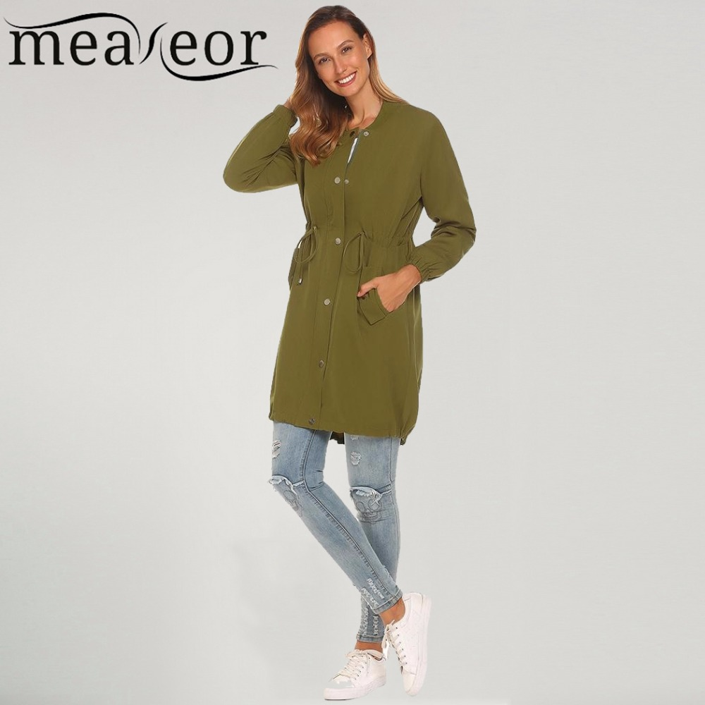 Meaneor Women Jackets 2017 Autumn Casual Long Sleeve Zipper Solid Lightweight Jacket Baseball Collar Slim Waist with Drawstring