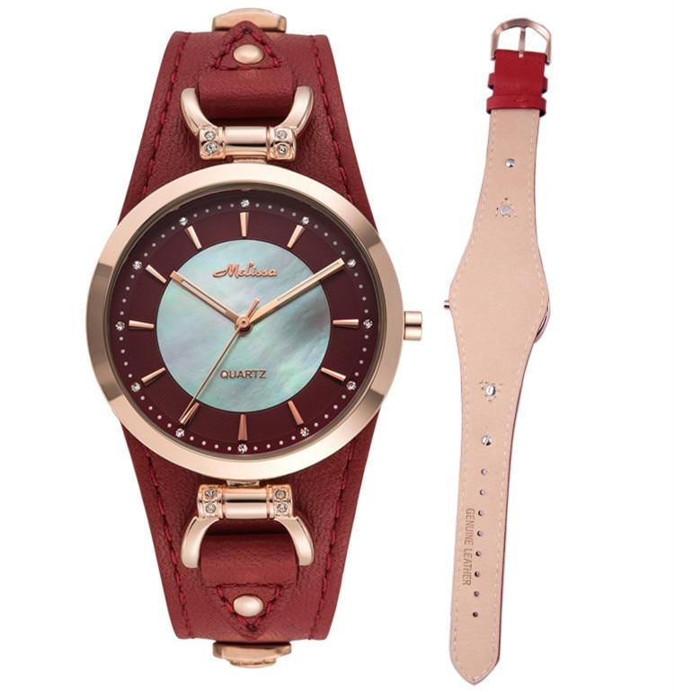купить New Style MELISSA Neutral Designer Women Cool PUNK Watches Quartz Vintage Rivet Wrist watch Leather Reloj Feminino Montre F12221 по цене 5414.64 рублей
