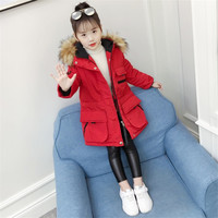 new thick baby girl parkas coat fashion red black overcoat for 4 9yrs girls children kids Winter jacket outerwear clothes
