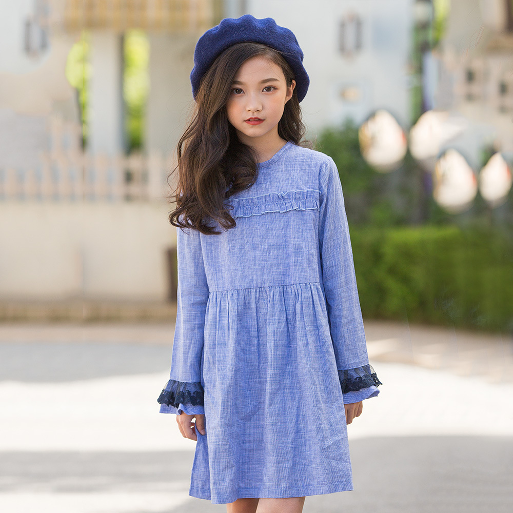 teen dress long-sleeved kids dresses for girls plaid a-line full sleeve princess dress elegant vestido autumn 2018 child clothes smock long sleeve a line dress