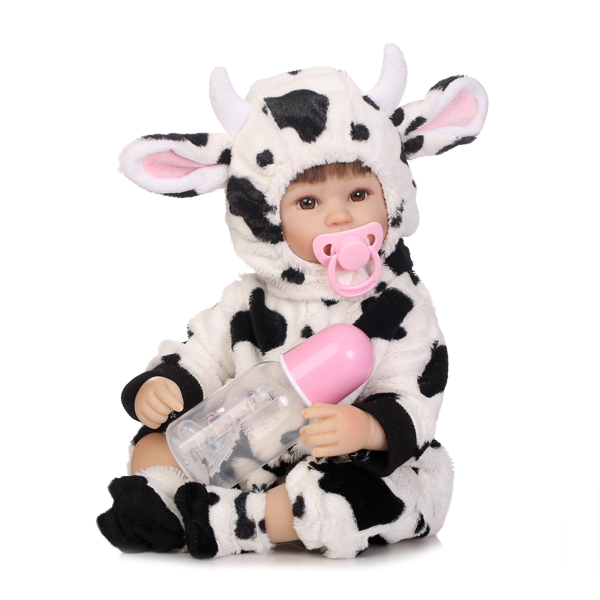40cm Lifelike Soft Doll In Lovely Small Cow One-piece Suit Silicone Reborn Baby Doll Kids Playmate Gift For Girls Baby Playmate40cm Lifelike Soft Doll In Lovely Small Cow One-piece Suit Silicone Reborn Baby Doll Kids Playmate Gift For Girls Baby Playmate