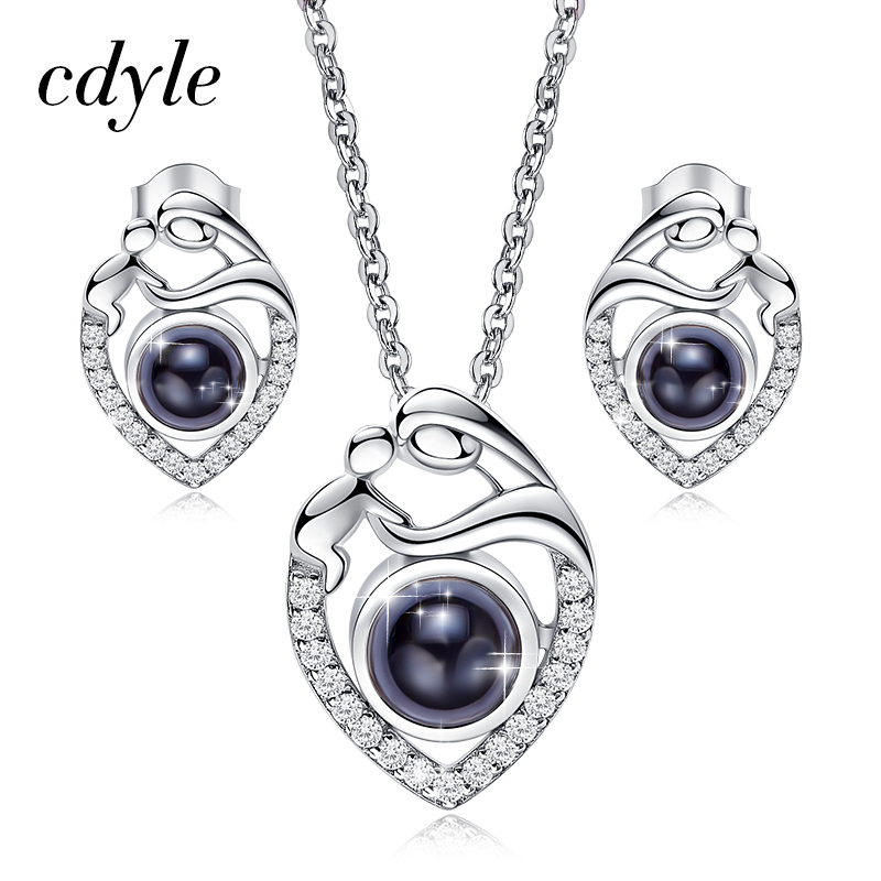 Cdyle 925 Sterling Silver Jewelry Set Mom And Baby Necklace Necklace Earrings Set For Mother s