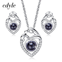 Cdyle 925 Sterling Silver Jewelry Set Mom And Baby Necklace Necklace Earrings Set For Mother's Day Gifts