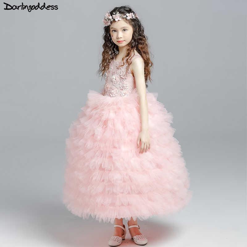 e065e1f7250a6c4 Элегантные розовые платья с цветочным узором для девочек на свадьбу,  бальное платье с облаками,