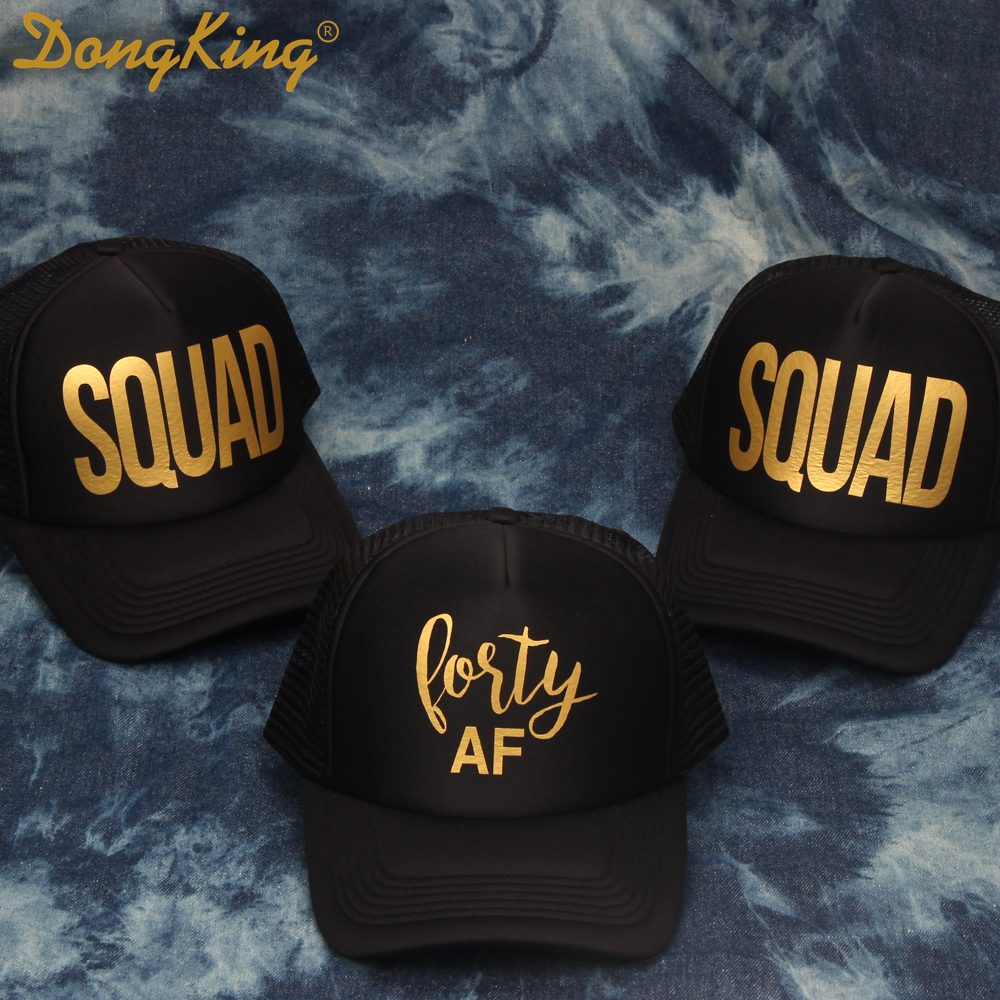 DongKing Forty Trucker Hats 40th Birthday Hat 40 Years Old Party Caps Sex Women Gift Golden Printed SQUAD In Baseball From Apparel