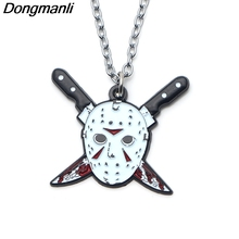 P3719 Dongmanli Fashion Friday the 13th Pendants Necklaces Cute Enamel Metal Pendant Chokers Necklace For Movie Fans Gifts