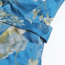 Vintage Silk Jacquard Elegant Print Women Dress Fashion Short Sleeve Luxury A-line Princess Maxi Dress