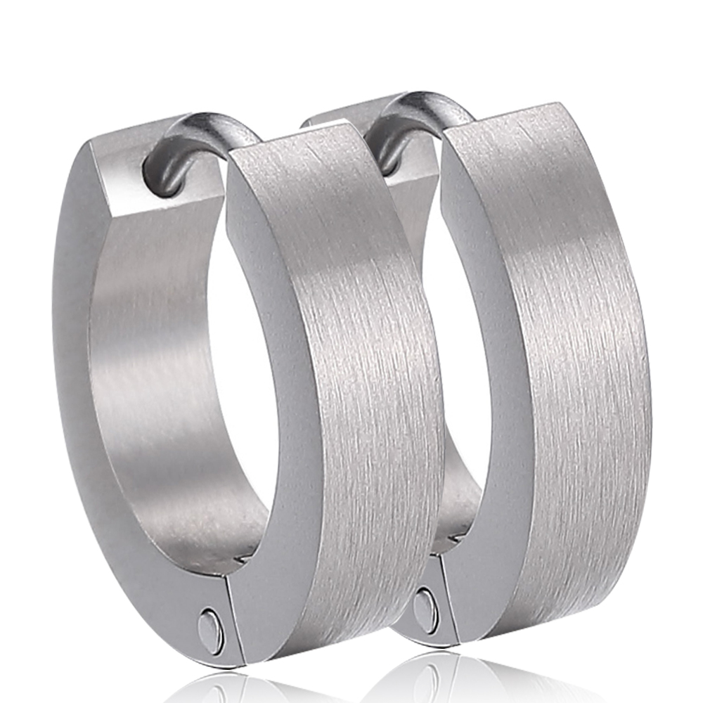 USA Spain UK Russian Big Sale Silver Pure Titanium Hoop Earrings for Sensitive Ear Men Women  Body Piercing Jewelry Punk Style