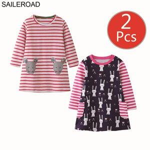 Image 3 - SAILEROAD 2 sztuk owoce jabłko drukuj dziewczyny sukienka z kieszeniami Vestidos 5 lat księżniczka dziecko sukienka dla dzieci ubrania Vestido Unicornio