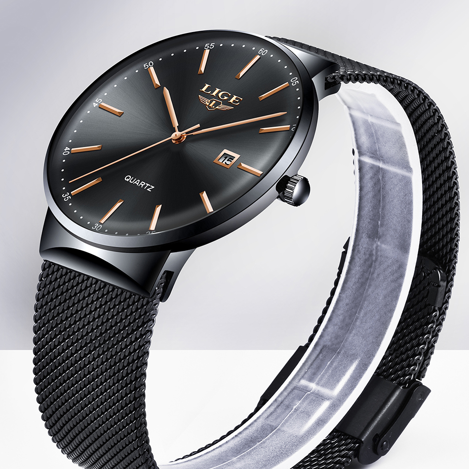 HTB1Wo7kEjTpK1RjSZKPq6y3UpXaS Relogio Masculino New Mens Watches LIGE Top Brand Luxury Fashion Watch Slim Mesh Date Waterproof Quartz Watch For Men Blue Clock