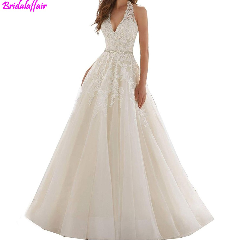 Wholesale Women s Sexy Wedding Gown robe mariage Halter Crystals Waist Lace Appliques Wedding Dress vestidos