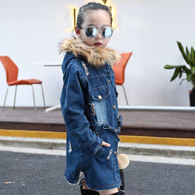 5b3410d9d388 Online Shop DreamShining Winter Girls Jacket Children Clothes Denim Jackets  Long Warm Clothing Kids Coats Cotton Hooded Outwear For Girl