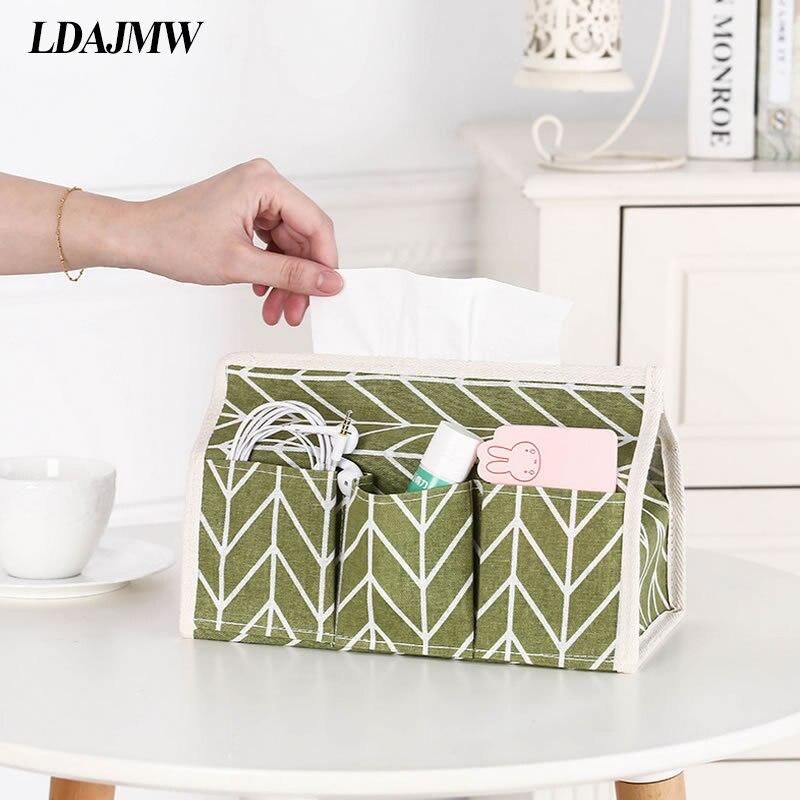 LDAJMW Cotton Linen Fabric Desktop Storage Bag Home Decoration Multifunction Pocket Paper Towels Box Sundries Pouch Makeup Bag