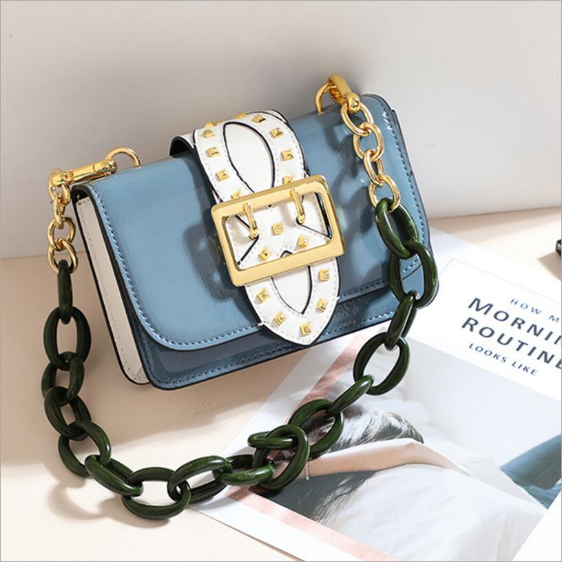 Luxury Flap Handbag Women Designer Genuine Leather Chain Shoulder Bag Buckle Messenger Bag Rivet Crossbody Bag Small Clutch