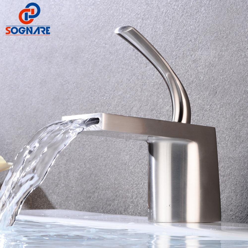 Bathroom Basin Faucet Cold And Hot Brass Mixer Tap Single Hole Waterfall Bathroom Sink Faucet Deck Mounted Basin Mixer FaucetBathroom Basin Faucet Cold And Hot Brass Mixer Tap Single Hole Waterfall Bathroom Sink Faucet Deck Mounted Basin Mixer Faucet