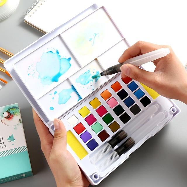 Juego de pintura de acuarela sólida BGLN 18/24/36 colores Caja Profesional con pinceles juego de pigmento de acuarela portátil suministros
