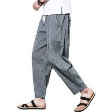 Мужские брюки до щиколотки мужские хип-хоп крест Мужские штаны для бега мужские широкие брюки Hombre Ретро Китайский Стиль льняные штаны-шаровары