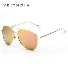 VEITHDIA Vintage Pilot Brand Designer Sunglasses With Origin