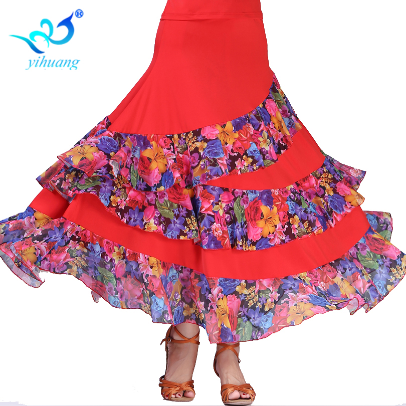 Ladies Ballroom Dance Costume Long Skirt Standard Modern Waltz  Big Swing Tango Outfits Free Shipping #2785