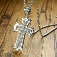 Men S Iced Out Micro Pave CZ Cross Pendant Necklace For Men Stainless Steel Hip Hop