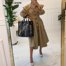 2019 New Peter-pan Collar Slim Waist With Belt Trench Khaki Women Lapel Single-b